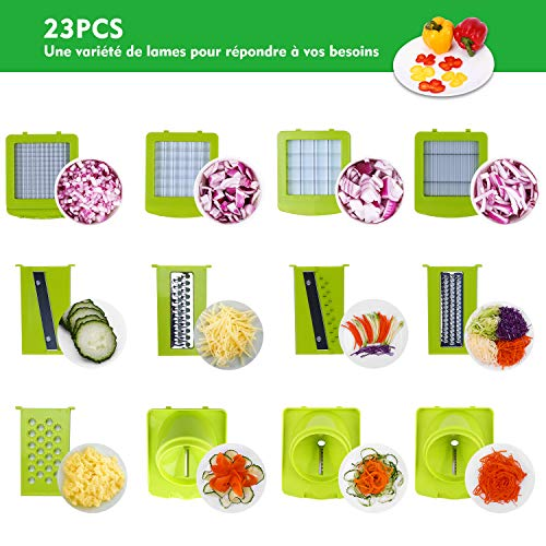 Sedhoom Mandoline Multifonctions 23pcs Coupe Legume des Decoupe legumes Rapidement et Uniformément