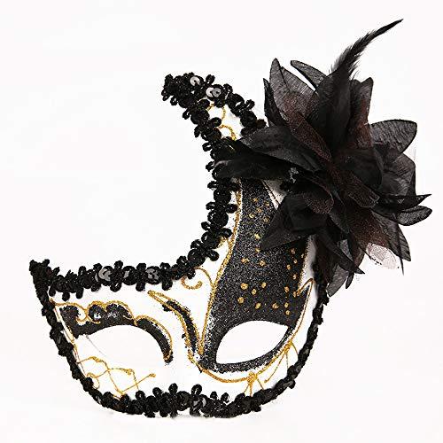 Maskenball Masken Damen, QHJ Maskerade Maske Kostüm Abschlussball Birthay Make-up Party Halloween Cospay Weihnachtsfeier, Karneval, Cosplay-Party (A) (Einfache Halloween Makeup Kostüm)