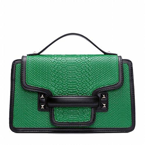 Weiblich Weiß - Kragen Hoch - Klasse Atmosphärische Krokodilmusterhandtasche Retro-Taschen Geprägt Grün