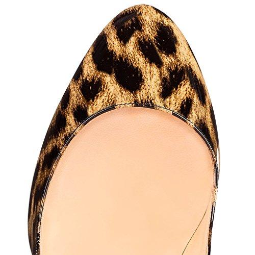Heel Pumpen Damen Kleid Eks Zehe leopard Partei Sexy Runde High Schuhe Stilettos Schwarz axq14f