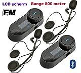 Bluetooth Motorrad-Gegensprechanlage TCOM-SC to Monitor Interfon Headset 800 Meter mit eingebautem FM-Radio 2 Module
