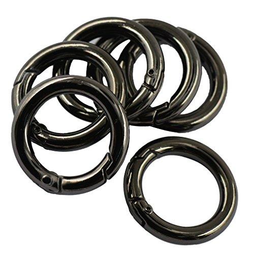 Preisvergleich Produktbild Gazechimp 6 Farbe Schwarz Rund Karabiner Haken Karabinerhaken Verbinder