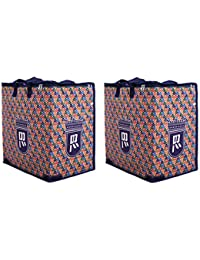 Double R Shopping Grocery Vegetable Bag with Reinforced Handles & Thick Base with Storage Covers Zip (Combo of 2)