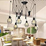 YJFFAN Retro Industrial Iron Cage Pendant Light Restaurant Wohnzimmer Cafe Bar Tisch Kreative Multi-Kopf-Dekoration Chandelier Heimatplatz Hängende Lampe E27, 100-240V,6Heads