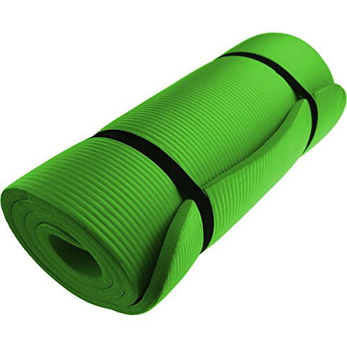 EXERCISE MAT NBR 15mm Thickness YOGA FITNESS WORKOUT PILATES CAMPING with carry strap (GREEN)
