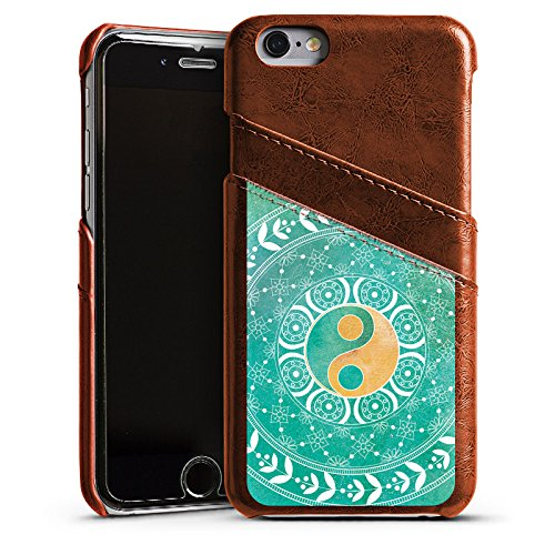 Apple iPhone 5s Housse Outdoor Étui militaire Coque Mandala Ying Yang Symbole Étui en cuir marron