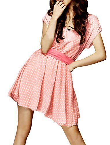 allegra-k-femme-pois-robes-col-v-profond-mariage-echarpe-mini-robe-rose-femme-m-eu-40
