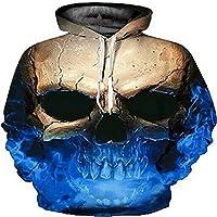 El otoño y el Invierno de Europa y los Estados Unidos Skull 3D con Capucha suéter con Capucha de impresión Digital de Gran tamaño,3XL.