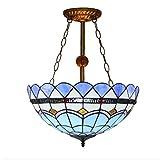 Tiffany Stil Pendelleuchte, moderne blaue mediterrane kreative Glasmalerei Pendelleuchte, minimalistischen Wohnzimmer Esszimmer Schlafzimmer Kunst Kronleuchter E27 (ohne Lichtquelle) Glight