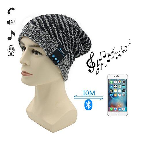 Berretto Bluetooth,Amytech Premium invernali all'aperto Knit Cap con Cuffia Stereo Senza Fili Auricolare Microfono Mani libere per iPhone Samsung Cellulari Android,Nero/Grigio