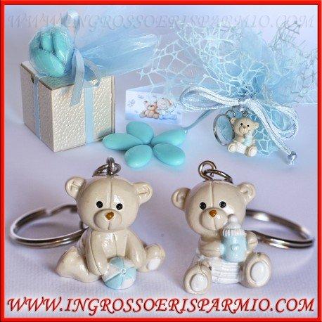 Ciondoli/portachiavi in resina lucida a forma di orsetti con un biberon o una palla tra le zampe - bomboniera per nascita, battesimo, compleanno bimbo (kit 12 pz + confezione)