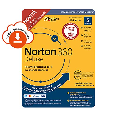 Norton 360 Deluxe 2020 | 5 Dispositivi | Licenza di 15 mesi | Secure VPN e Password Manager | PC, Mac, tablet e smartphone | Codice d'attivazione via email
