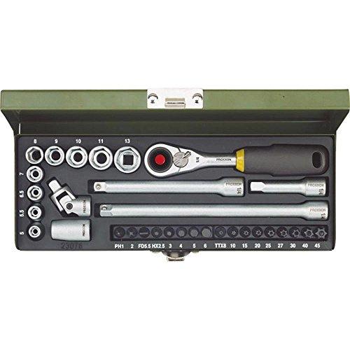 Proxxon 23078 Ratsche/Steckschlüssel/Feinmechaniker - Set und MICRO-Kompaktratsche, Steckschlüsseleinsätze, Standardbits, Adapter, Verlängerungen stabilem Stahlkasen, 1/4 Zoll, 32- teilig