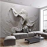Cczxfcc Benutzerdefinierte Mural 3D Stereoskopischen Geprägte Graue Schönheit Ölgemälde Moderne Abstrakte Kunst Wandbild Wohnzimmer Schlafzimmer Mural-350Cmx245Cm