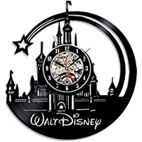 Ho Clock 12-Zoll Stille Wanduhr Kreative Vintage Walt Disney Castle Schallplatten Wanduhr Für Wohnzimmer Schlafzimmer Büro Küche Decor Art