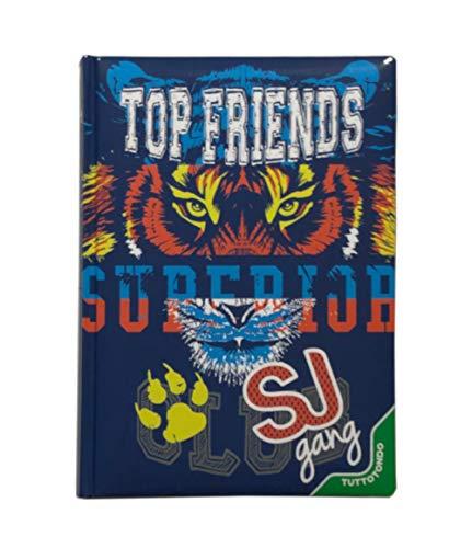 SEVEN. DIARIO Scuola 20x15cm Tiger SJ Nuova Collezione Edizione Special Ragazzo 2019-2020 Top Friends Blu + Omaggio portachiave Fischietto + Omaggio Penna Glitterata
