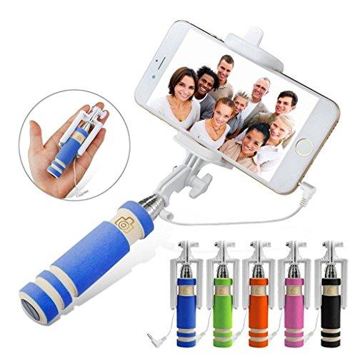 Fone-Case (Blue) Mini Selfie-Stick Ausziehbare Tasche Einbeinstativ für Mobiltelefone mit eingebautem Remote-Shutter für Huawei P8 Lite (2017) (Leder Teleskop-computer Fall)