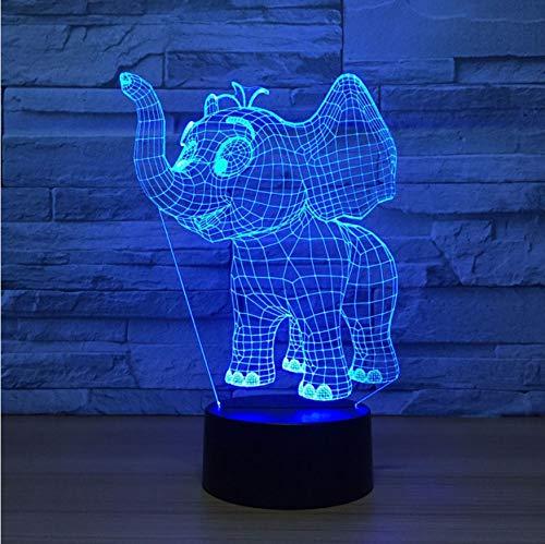 3D Led Luz Nocturna Infantil 7 Colores Que Cambian La Novedad Del Elefante Que Modela La Lámpara De Mesa Decoración Para El Hogar Luminaria Para La Iluminación Del Sueño De La Cabecera Del Niño