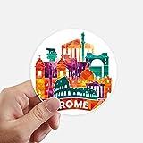 DIYthinker Italien Rom Landschaft Zollzeichen Runde Sticker 10Cm Wand Koffer Laptop Motobike Aufkleber 8Pcs Diameter 10Cm Mehrfarbig