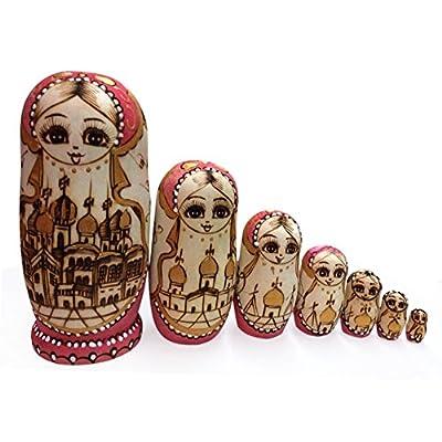 F. Dorla Set von 7Nistkasten Puppen Beliebte Handmade Blau Garland russischen Matrjoschka russische Puppen New 100Holz Matroschka Getrocknete Linde Traditionelle Frau