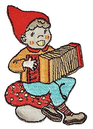 Zwerg mit Akkordeon / Ziehharmonika 5 cm * 7,5 cm Bügelbild Aufnäher Applikation - Zerrwanst Zwerge Gartenzwerg Kleiner Mann -