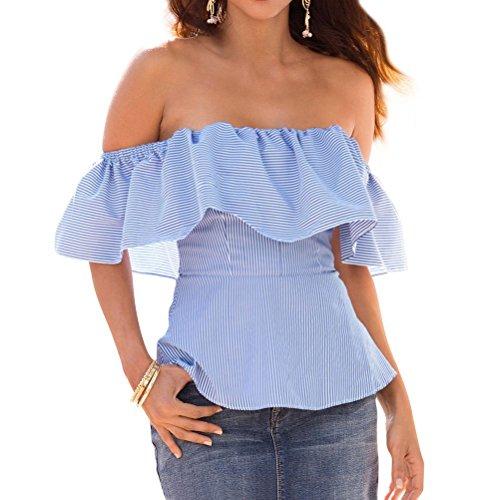T-shirt Estive Donna Camicia Spalle Scoperte a Righe Maglietta con Volant Bluse Maglie Manica Corta Ragazza Crop Top – Landove Blu