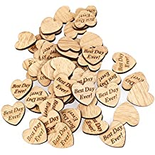 ULTNICE Corazón de madera de 50 piezas con mejor día siempre patrón registro rebanadas DIY manualidades para adorno de fiesta de boda
