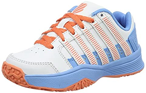 K-Swiss Performance Court Impact Ltr Omni, Chaussures de Tennis Fille, Blanc (White/Bonnie Blue/Fusion Coral), 36