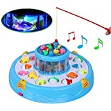 Zest 4 Toyz Fishing Fish Catching Game with 26 Pcs of Fish, 2 Rotary Fishing Pond & 4 Pods Includes Music and Lights Function (Assorted Color)