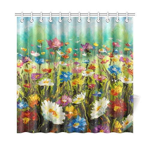 AGIRL Wohnkultur Bad Vorhang Original Ölgemälde Von Blumen Schöne Bloomi Polyester Stoff Wasserdicht Duschvorhang Für Badezimmer, 72 X 72 Zoll Duschvorhänge Haken Enthalten