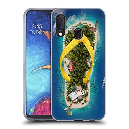 Head Case Designs Offizielle Dave Loblaw Flip Flops Insel Und Bergen Soft Gel Huelle kompatibel mit Samsung Galaxy A20e (2019) - Soft-flipflops