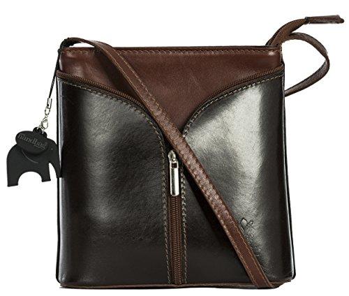 Big Handbag Shop Borsetta piccola a tracolla, vera pelle italiana Coffee - Brown Trim