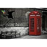Cabina telefonica rossa Londra Inghilterra Love is in the air L'amore è nell'aria fotomurale decorazione da parete by Great Art 210 cm x 140 cm