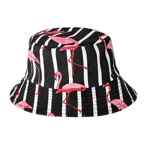 ZLYC Damen Fischerhut Einheitsgröße Gr. Einheitsgröße, Flamingos,Stripe,Black