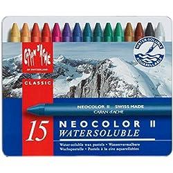 Caran d'Ache Neocolor II - Juego de ceras de color (15 unidades, caja metálica), multicolor
