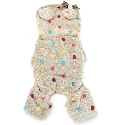 ranphy Kleiner Hund Kleidung für weiblich Stecker Bunte Punkte Samt Hoodie Vierbein Jumpsuit Pet Winter (Fancy Dress Weiblich)