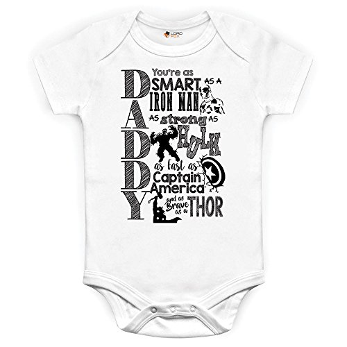 Marvel Comics Daddy Baby Grow Babybody Einteiler Iron Man Hulk Captain America Thor 0-3 Monate
