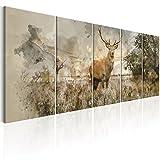 murando - Bilder Hirsch 200x80 cm - Vlies Leinwandbild - 5 Teilig - Kunstdruck - modern - Wandbilder XXL - Wanddekoration - Design - Wand Bild - Natur Tier Landschaft g-B-0042-b-m