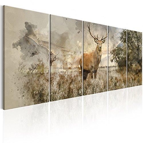 murando - Bilder Hirsch 225x90 cm Vlies Leinwandbild 5 TLG Kunstdruck modern Wandbilder XXL Wanddekoration Design Wand Bild - Natur Tier Landschaft g-B-0042-b-m Hirsch-design