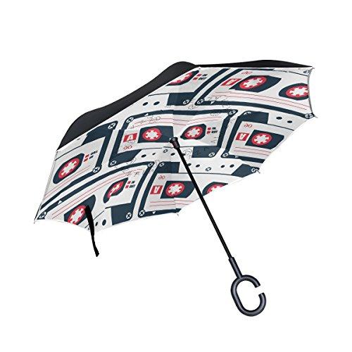 COOSUN Estilo Retro Cassette patrón de la Cinta de Doble Capa del Paraguas invertido inversa para el Coche y el Uso al Aire Libre a Prueba de Viento Impermeable Lluvia protección UV Paraguas Grande
