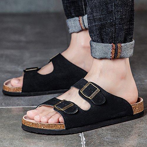 Pantoufles d'été hommes pantoufles en liège antidérapant Waichuan chaussures de plage respirant ( Couleur : 3 , taille : EU40/UK7/CN41 ) 1