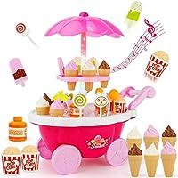 مجموعة ألعاب كاندي عربة مثلجات، مجموعة ألعاب تنكرية ألعاب وردية مرحة من 39 قطعة كهدية للبنات
