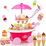 Playset Toy Candy Ice Cream Car Toys Pretend Play Set Toy Pink Fun Toys 39 Pieces For Girls Gift