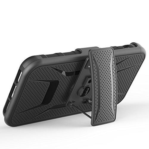 Meimeiwu 3 in 1 Protettiva Custodia Cover Case - La rotazione a 360 gradi Belt clip per iPhone 5S iPhone SE Rosso Nero