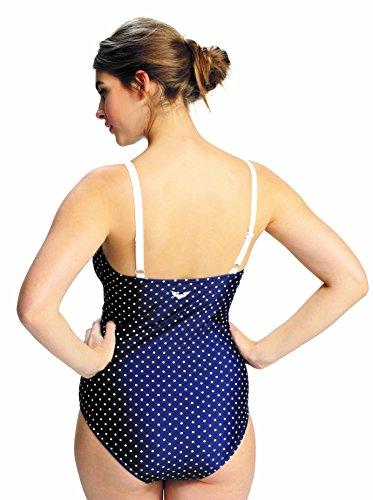 PETIT AMOUR ANTONIE perfekterSchwimmanzug für Schwangere Umstandsbademode Navy mit weißem Pünktchen