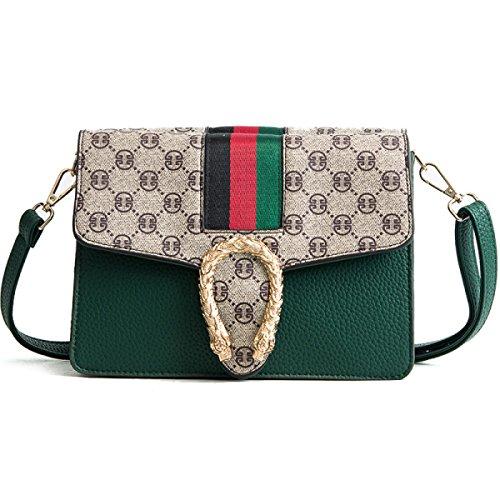 Kleine Quadratische Tasche PU Mode Schulter Druck Multi Schultergurt Diagonale Weibliche Tasche Geometrie,Green-OneSize