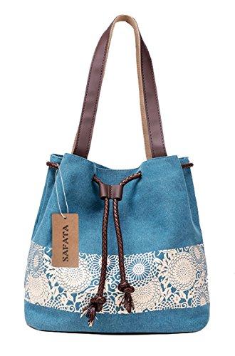 SAFATA Damen Handtasche Canvas Schultertasche Umhängetasche Damen Shopper Tasche Schöne Vintage Henkeltasche Beuteltasche (Blau)