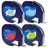 Dymo etikettenband, 4x verschiedenfarbiges Schriftband für Dymo LetraTag 12mm x 4m Kunststoff Etikettenkassette Schwarzer Druck auf Weiß/gelb/rot/blau Etikettenband Kompatibel mit Dymo LetraTag LT-100H LT-100T LT-110T