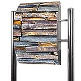 BANJADO Edelstahl Briefkasten groß, Standbriefkasten freistehend 126x53x17cm, Design Briefkasten mit Zeitungsfach Motiv Naturstein