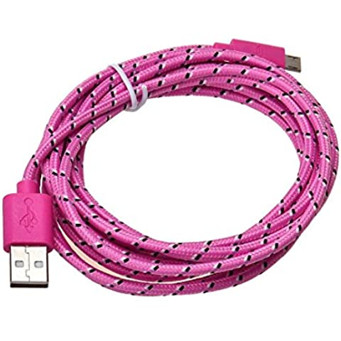 Baonoopy 3M / 10FT cáñamo cuerda Micro USB cargador Sync datos Cable cable para teléfono c (color de rosa)